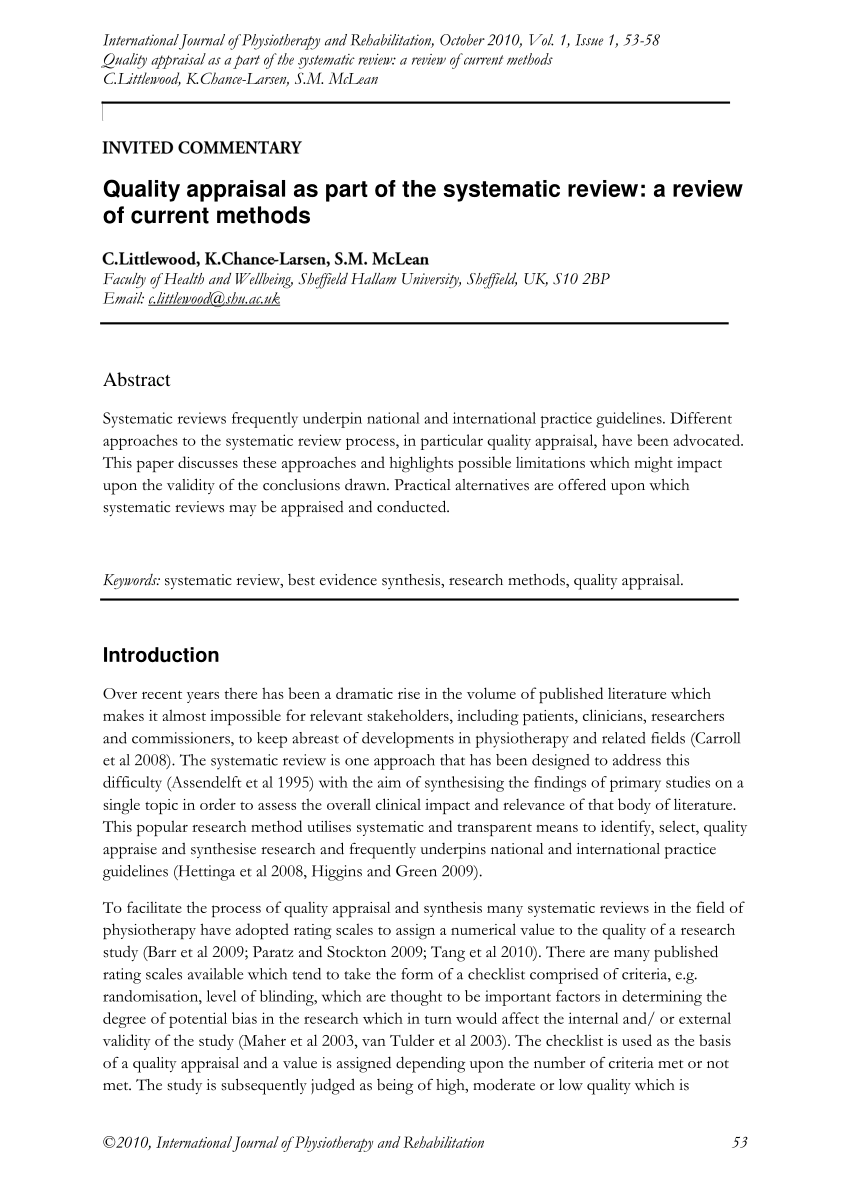 quality appraisal in systematic review
